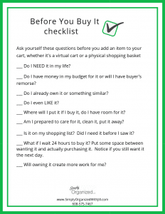 checklist before buying items