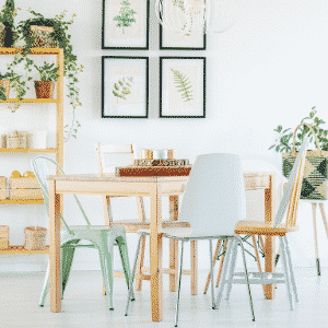 clean tidy dining room table and chairs with green plants bookshelf and framed botanical prints